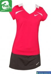 Áo váy tennis nữ có tay đỏ đen AV012