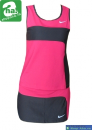 Áo váy tennis nữ sát nách hồng đen AV017