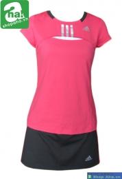 Áo váy tennis nữ có tay hồng đen AV019