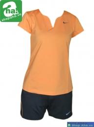 Áo quần tennis nữ có tay cam đen AV020
