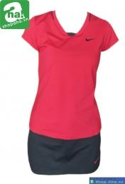 Áo váy tennis nữ có tay đỏ đen AV021