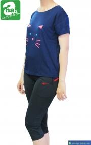 Áo thể thao nữ Teen Cat màu Navy ATN105
