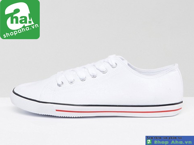 Giày ASOS Lace Up Plimsolls In White Size 45, 46, 47, 48 NNN1