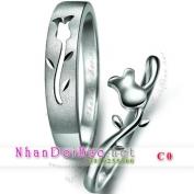 Nhẫn bạc, nhẫn cặp, C0, hoa hồng yêu