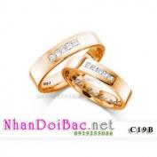 Nhẫn bạc, nhẫn đôi C19B mạ vàng đồng, Có nhau trọn đời