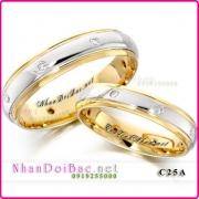 Nhẫn cặp, nhẫn bạc C25A mạ vàng 24k