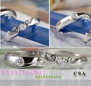 Nhẫn cặp bạc C9A, cánh tình yêu