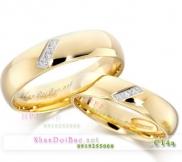 Nhẫn cặp bạc C14A mạ vàng 24k, Beautiful day