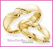 Nhẫn cặp bạc C15A mạ vàng 24k, happy gold