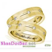 Nhẫn đôi, nhẫn bạc C3A mạ vàng 24k, Hoàng hôn