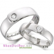 Nhẫn cặp, nhẫn đôi bạc, C32 - Yêu thiết tha