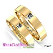 Nhẫn cặp, nhẫn bạc C34C mạ vàng 24k, Hoàng kim