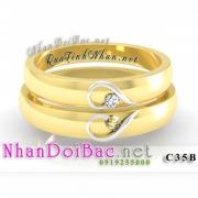 Nhẫn cặp, nhẫn bạc C35B, mạ vàng 24k, My heart