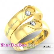 Nhẫn cặp, nhẫn bạc C35C, mạ vàng 24k, My heart