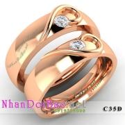 Nhẫn cặp, nhẫn bạc C35D mạ vàng đồng, My heart