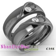 Nhẫn cặp, nhẫn bạc C35E, mạ huyền bí, My heart