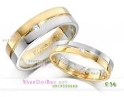 Nhẫn đôi, nhẫn bạc C36 mạ vàng 24k, Vàng son