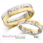 Nhẫn đôi, nhẫn bạc C37 mạ vàng 24k, Ngày hạnh phúc