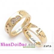 Nhẫn đôi, nhẫn bạc, C47A, mạ vàng 24k, thuộc về nhau