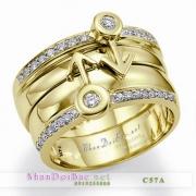 Nhẫn bạc, nhẫn đôi, C57A mạ vàng 24k, hướng thiên đường