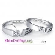 Nhẫn cặp, nhẫn bạc C68, Love