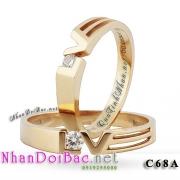 Nhẫn đôi, nhẫn bạc C68A, mạ vàng 24k, Loving
