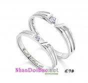 Nhẫn bạc, nhẫn đôi C70, Love & Love