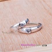 """Nhẫn đôi bạc C78 - """"lửa"""" tình yêu"""
