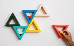 Tập tành làm bộ kệ đựng đồ tam giác trang trí phòng cá tính