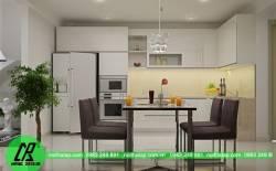 Tủ bếp nhựa ưa dùng với không gian bếp chật hep