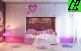 Thiết kế phòng  ngủ dễ thương cho bé gái