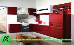 Tủ bếp gỗ Acrylic màu đỏ đẹp