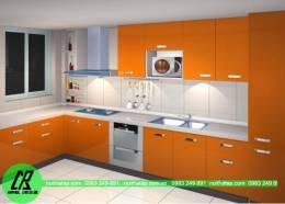 Tủ bếp gỗ Acrylic màu cam nồng ấm
