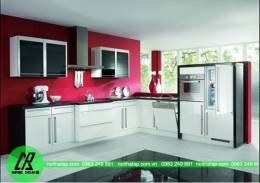 Thiết kế tủ bếp đẹp kiểu chữ L chất liệu Acrylic