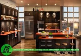 Tủ bếp gỗ Laminate có bàn đào