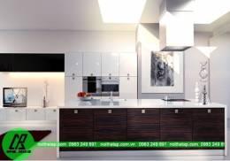 Thiết kế mẫu tủ bếp Laminate đen nâu sang trọng