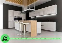 Mẫu tủ bếp nhựa picomat hiện đại, nổi bật