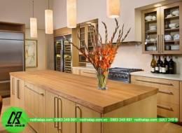 Mẫu thiết kế tủ bếp Laminate gỗ xoan đào
