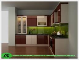 Mẫu tủ bếp gỗ acrylic màu nâu, đỏ.