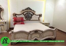 Thi công mẫu giường ngủ đẹp gia đình anh Hưng- chung cư Linh  Đàm