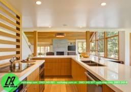 Mẫu thiết kế tủ bếp Laminate màu vàng gỗ
