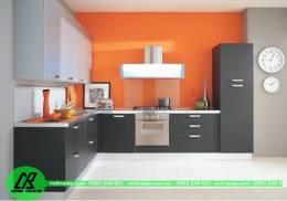 Mẫu tủ bếp Laminate màu ghi xám đẹp lung linh