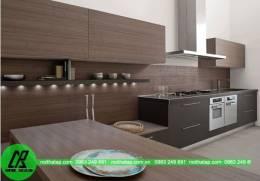Mẫu tủ bếp Laminate màu nâu đen đẹp sang trọng