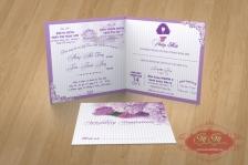 Thiệp cưới mẫu vuông màu tím