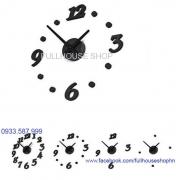 Đồng hồ DIY số to nghiêng màu đen