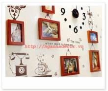 Bộ 6 khung ảnh gỗ cao cấp kèm đồng hồ và decal KA058