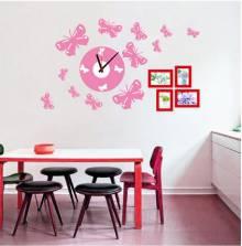 Đồng hồ Decal cánh bướm hồng