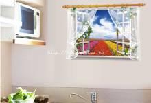 Decal Cửa sổ Cánh đồng Hoa