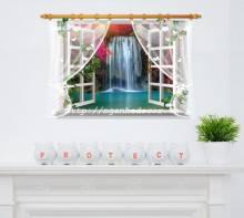 Decal Cửa sổ phong cảnh Thác nước