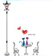 Decal Cột đèn và Mèo tình nhân